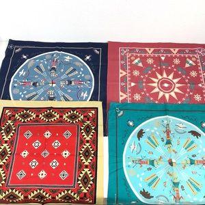 Vintage Accessories - Lot Of 4 Southwest Native Indian Aztec Bandanas
